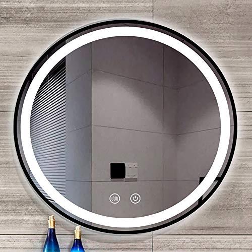 GETZ Espejo de Baño Redondo con Iluminación LED, Espejo de Maquillaje con Sensor de Control Táctil, Luz Blanca 6500K, Marco de Metal, IP65, Espejos Sin Cobre, Negro