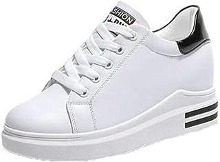 Zapatos de Plataforma Blancos para Mujer, Zapatillas de Deporte con Cordones, Plataforma de tacón Alto, Zapatos Casuales p...