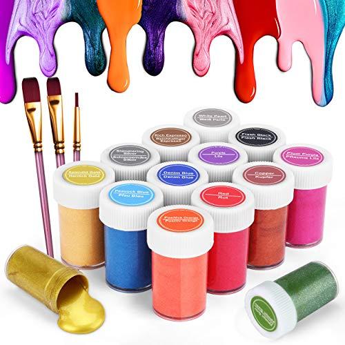 Gifort Colori Acrilici Metallizzati per Dipingere, Set Pittura Acrilica Tono Gioiello da 14 X 20 ML con 3 Pennellin, Atossici & Non Sbiadiscono, per Esperti e Bambini, Pittura su Tela e Artigianato