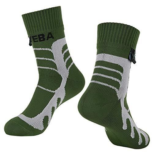 Layeba 100% Waterproof Breathable Socks [SGS Certified] Unisex Outdoor Sports Hiking Trekking Skiing Socks 1 Pair & 2 Pairs (Green, Large)