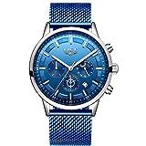 LIGE Montre chronographe pour Homme Mouvement à Quartz Montre de Sport d'affaires de Mode 30M étanche et Anti-Rayures Cadeau...