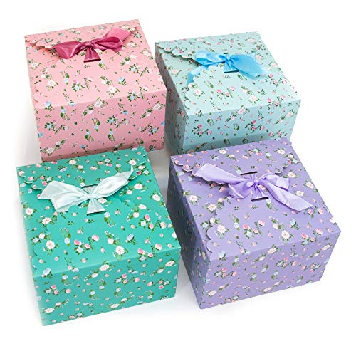 "Gift Expressions Gift Boxes with Lids, Assorted Floral, 12 Pack, 5.8"" x 5.8"" x 3.7"" Foldable Decorative Box, Cupcake Boxes, Party Favors, Bridesmaid Gifts, Thick 400GSM Small Cardboard Boxes"