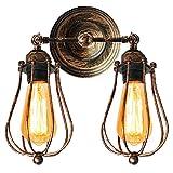 Doble-Cabezal Lámpara de Pared Retro Industrial Vintage Aplique Ajustable Luz de Pared Clásico Edison Iluminación Aplique Estilo Loft Adecuado Dormitorio Pasillo Entrada Cocina (Óxido)