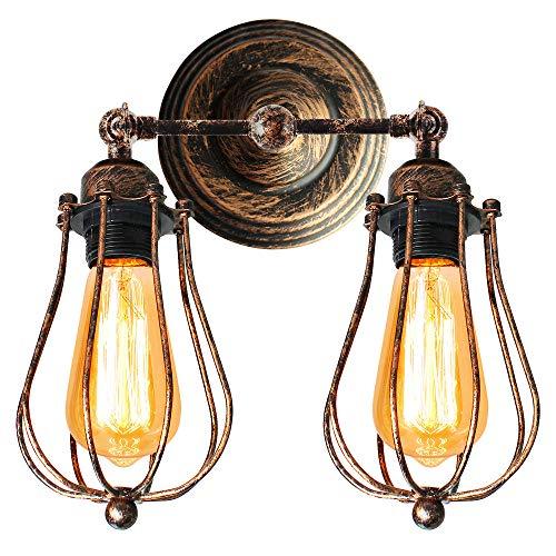 STOEX Aplique Doble-Cabeza de Hierro Edison Estilo Rústica Vintage Metal Industrial Lámpara de Pared Creativo Iluminación Ajustable de Loft Bar Hotel Comedor(óxido)