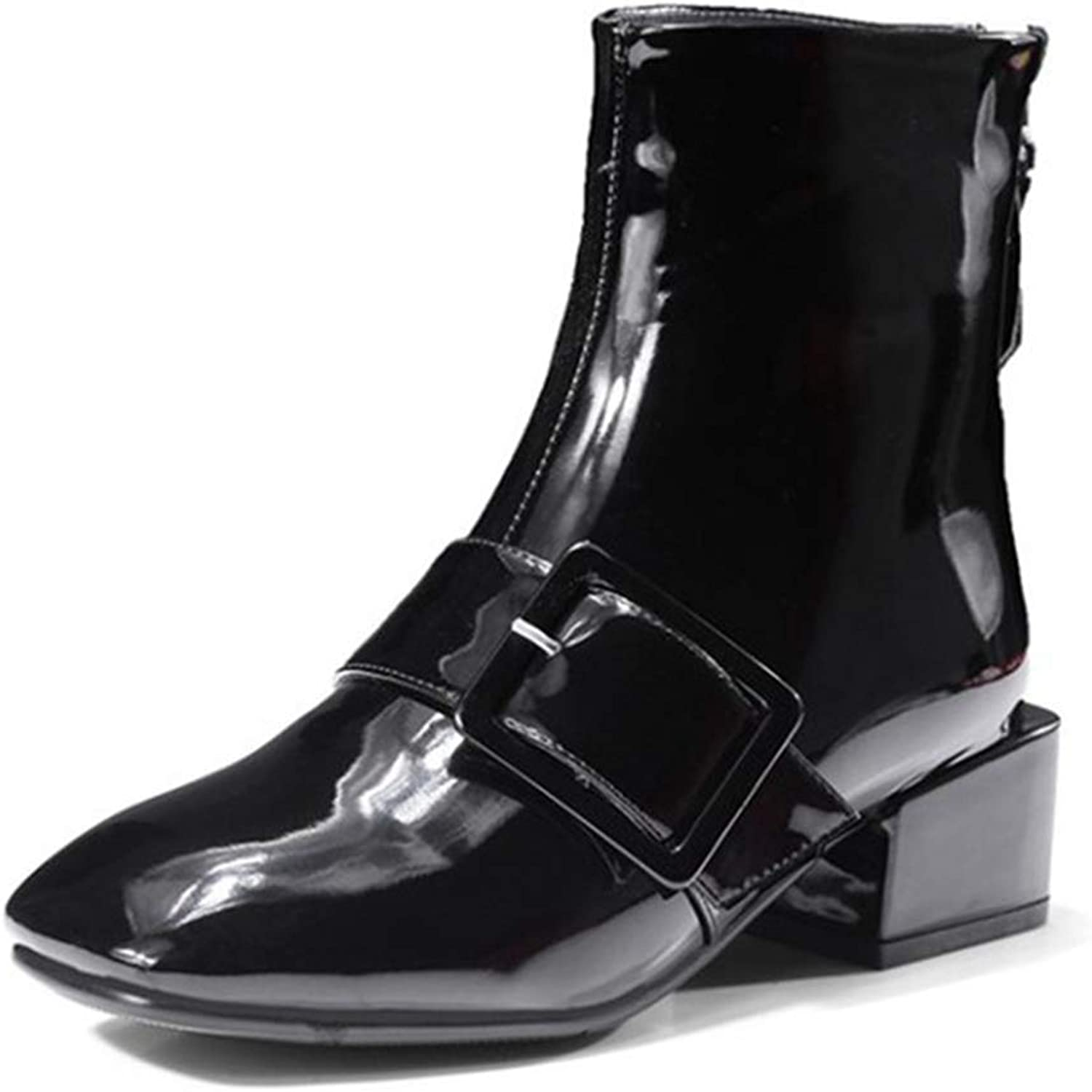 Beautiful - Fashion Women's Low Chunky Heeled Ankle Booties Buckle Round Toe Side Zip Casual Block Heel shoes