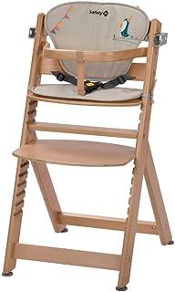 Safety 1st Timba con cojín, Trona de madera evolutiva, Trona para bebés con bandeja extraíble, Silla de altura regulable crece con el niño 6 meses - 10 años, color Natural