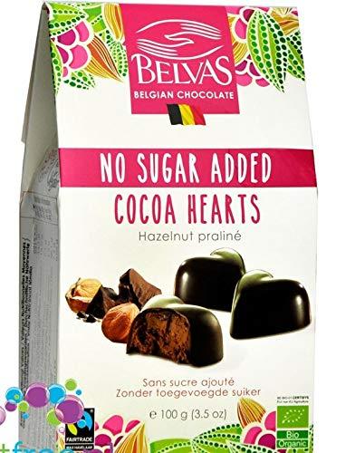 Belvas Hearts - Hearts, belgische vegane Bio-Schokoladenpralinen ohne Zuckerzusatz und ohne Süßstoffe 100g