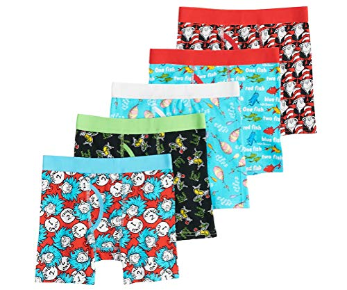 Dr. Seuss Boys' 5 Pack Cat in The Hat Thing 1 2 Red Fish Blue Fish Underwear Boxer Briefs (6)