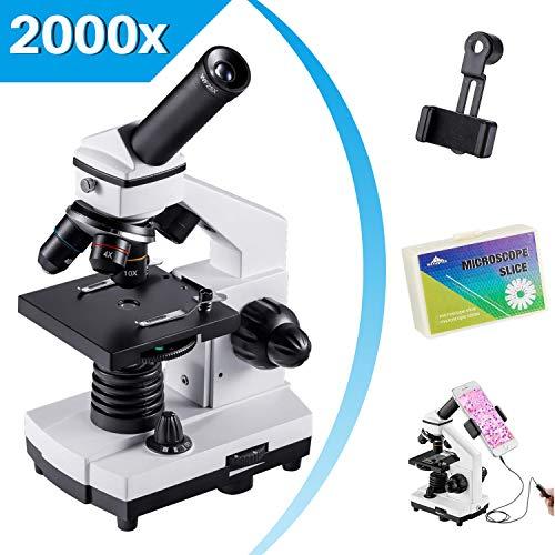 Microscopio Monoculare per Bambini Studenti,Ingrandimenti di 200-2000X Volte Microscopio Potente Biologico Istruttivo, con Adattatore per Cellulare, Otturatore a Cavo, Borsa da Trasporto,Vetrini(15)