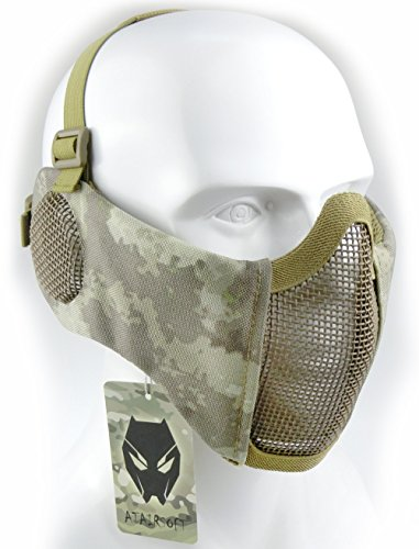 Mascarilla protectora de malla inferior de nailon con cubierta para la oreja de Worldshopping4U, Tactical Airsoft CS, AT