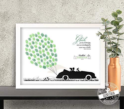 Oldtimer Hochzeitsauto Wedding-tree Fingerabdruck-bild Leinwand Hochzeit als Gästebuch, individuell