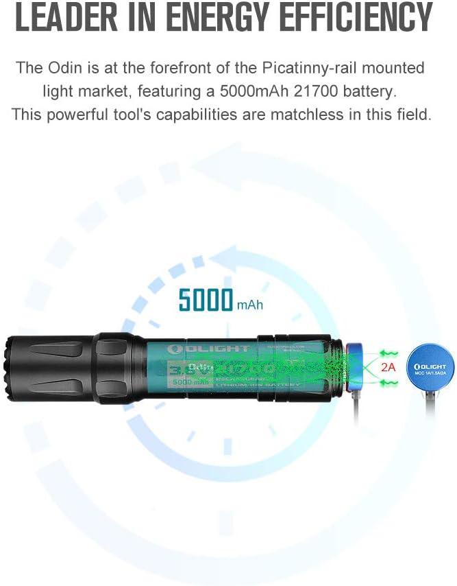 OLIGHT Odin 2000 l/úmenes recargable Picatinny Rail montado linterna t/áctica con interruptor de presi/ón remoto distancia de haz de 300 metros alimentado por bater/ía 21700 mAh
