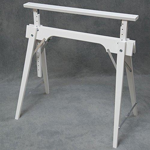 Tischbock in Buche, Weiß (RAL 9016) lackiert, Höhenverstellbar von ca. 64-105 cm, Auflagenbreite 75 cm