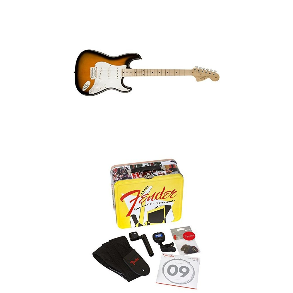Cheap Squier by Fender Affinity Stratocaster Beginner Electric Guitar - 2-Color Sunburst with Accessories Kit -