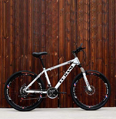 ZGYQGOO Mens Adulti Mountain Bike, Biciclette Doppio Freno a Disco off-Road Neve, Giovanile Città degli Studenti Road Racing Bike, 24 Pollici Ruote Beach Biciclette
