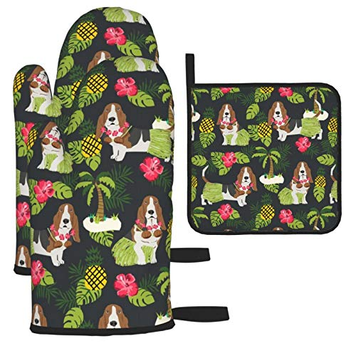 Basset Hound Hula - Manoplas de horno y soportes para ollas, diseño tropical de verano, color carbón oscuro, 3 piezas, guantes de cocina suaves para cocina, horneado, barbacoa