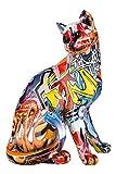 GILDE Figur Pop Art - mehrfarbige Katze aus Poly mit Servietten Druck H 29 cm