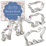 Ann Clark Cookie Cutters 5-Piece Zoo Animals Cookie Cutter Set with Recipe Booklet, Extra Large Elephant, Giraffe, Hippo, Polar Bear, Monkey