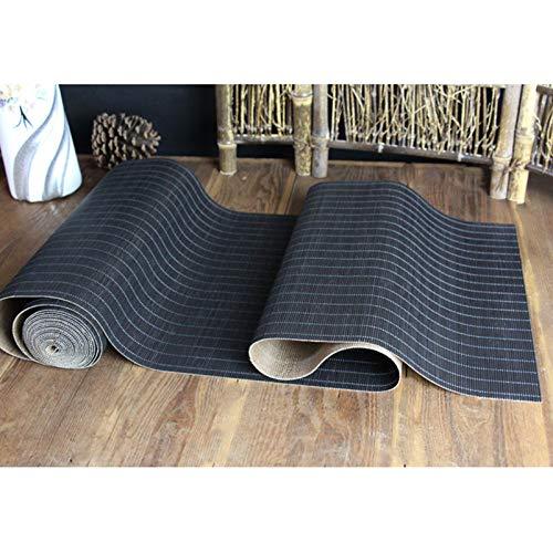 Corredor De Mesa De Bambú Negro con Soporte De Malla Antideslizante, Estilos De Té De Estilo Japonés para Té para La Mesa De Té, Mesa De Comedor Aislamiento Térmico.(Size:50×210cm)