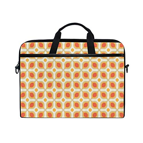 FOURFOOL 15-15.6 inch Laptop Bag,Linked Bold Geometric Shapes 70S Vintage Style Minimalist Pattern Boho,New Canvas Print Pattern Briefcase Laptop Shoulder Messenger Handbag Case Sleeve