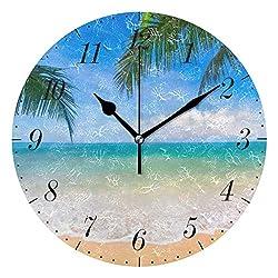 Chic Houses Palm Tree Beach Clock Hawaiian Tropical Seashore Bathroom Wall Clock Non Ticking 8 Inch Battery Acrylic for Living Room Bedroom Decor Art Round Clock 2031637