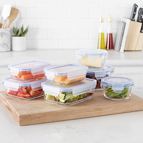 AmazonBasics Glass Locking Food Storage Containers 14 Pieces (7 Containers + 7 Lids), BPA-free plastic lids lock