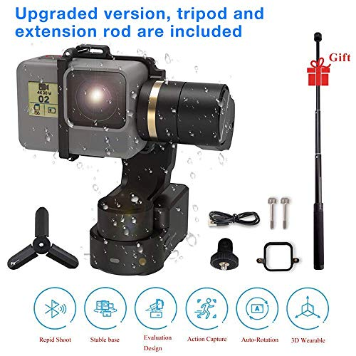Feiyu Tech WG2 Upgraded versionWaterProof Wearable Gimbal for GoPro Hero7/6/5 / 4 / Session and Similar Dimensions Action Camera +Tripod and extension pole