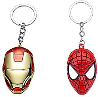 2 Pack Iron Man Keychian Spider Man Mask Keychain Car Home Metal Marvel Avengers Key Chains For Gifts