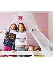 Klamboe voor bed met lichtgevende ster en maan SZHTFX bedhemel voor meisjes en jongens, ponsvrije installatie, Haning Bed Net voor babybed tot tweepersoonsbed