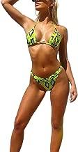 YAUASOPA Women Striped Triangle Bikini Sets Female Top Tie Side Bottom Padded Swimsuit