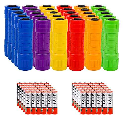 Whaply Small Mini Flashlights Pack of 30Assorted ColorsNew Type Cob LightWith Battery