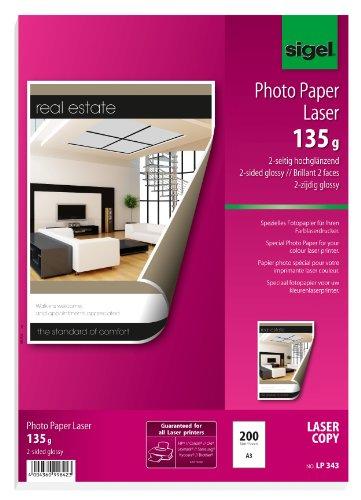 Sigel LP343 - Papel fotográfico color, 135 g, 200 hojas, A3