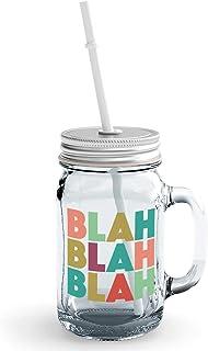Clear Mason Jar-Blah Blah Blah Rude Sarcastic Glass Jar With Straws
