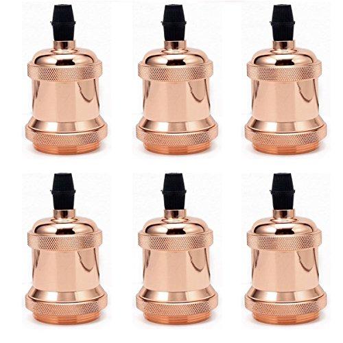 6 portalámparas GreenSun LED Lighting Vintage Edison, portalámparas E27, portalámparas de techo, base de lámpara, retro, soporte colgante, adaptador, DIY, accesorio para lámpara, color oro rosa