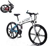 Bici electrica, 26 En bicicleta eléctrica for unisex con 350W 36V 8A batería de litio que dobla la montaña bicicleta eléctrica 27 Velocidad de aleación de aluminio con frontal y trasero de disco mecán