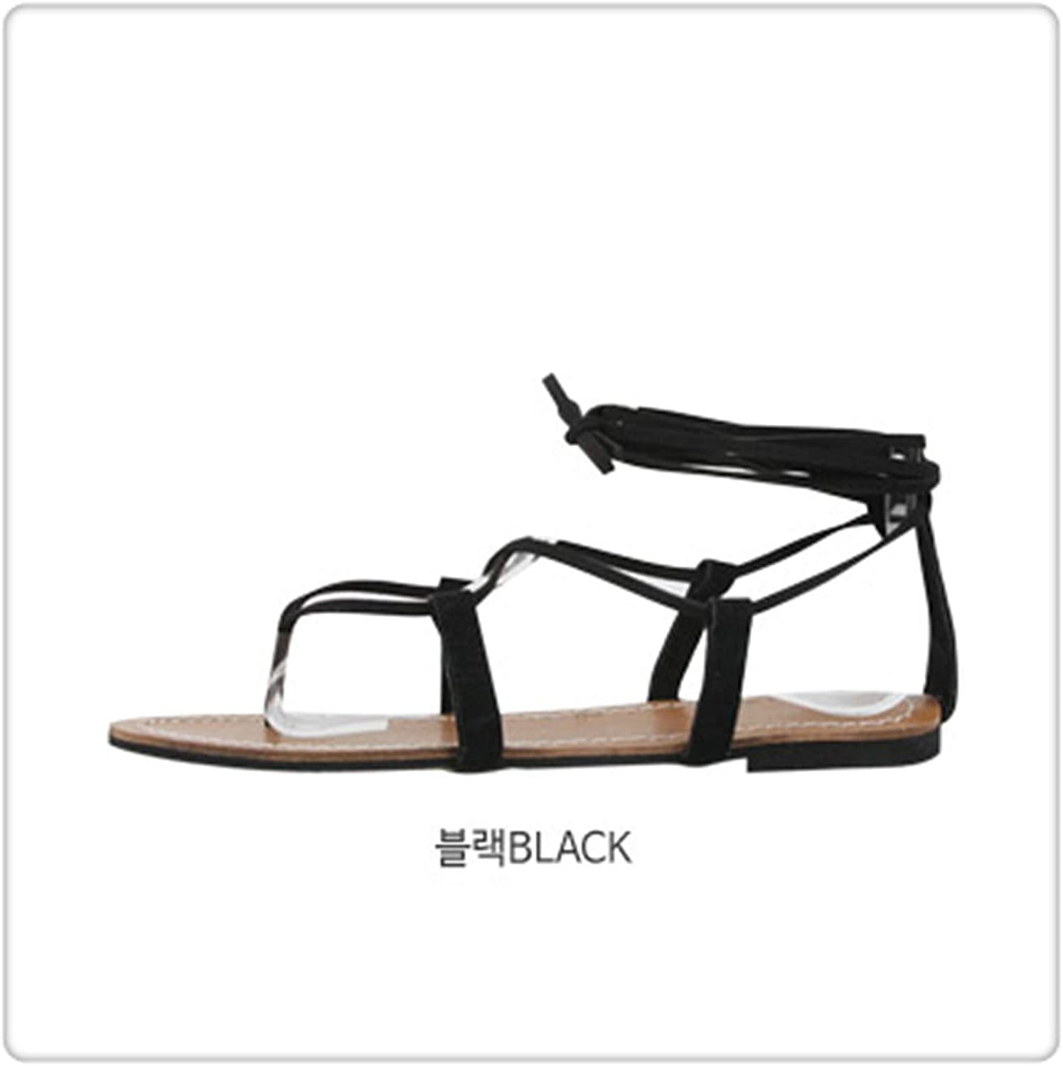 Yyixianma Sandals Women's Strap Summer Flat Fairy Wind Bohemian Beach Seaside Roman Tie