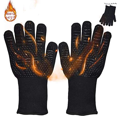 Senders Grillhandschuhe, Ofenhandschuhe Hitzebeständige bis zu 800 ° C Grill Handschuhe Universalgröße Kochhandschuhe Backhandschuhe rutschfeste mit Silikon für BBQ/Kochen/Backen/Schweißen - 5