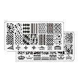 ZLHEgan 5pcs / Set Flor geometría búho del Clavo Que Sella la Placa DIY del Clavo del Metal del rectángulo Plantillas manicura del Arte Plantillas polacas Decoración
