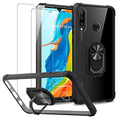 DOSNTO für Huawei P30 Lite/P30 Lite New Edition Hülle, Silikon TPU Slim Hülle mit 360 Grad Ring Ständer Handyhülle [Verstärkter Fallschutz] Magnetische Autohalterung Transparent Schutzhülle, Schwarz