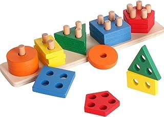 Juguete de clasificación y apilamiento de madera, juguetes para niños pequeños, apilador de reconocimiento de color Montessori, rompecabezas de bloques educativos tempranos para niños y niñas de 1 2 3 años (5 formas)