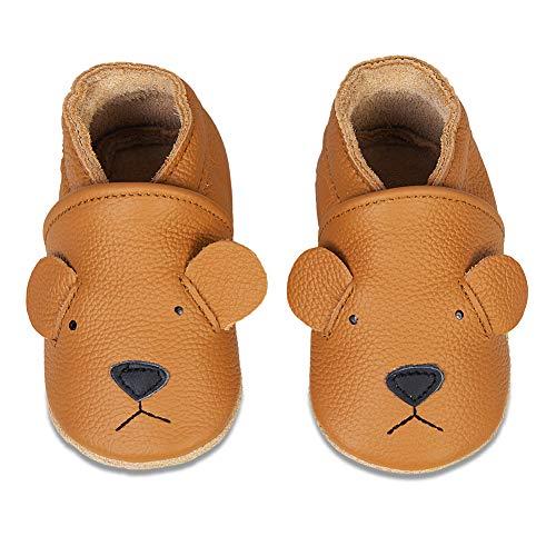 Baby Lauflernschuhe Jungen Mädchen Weicher Leder Krabbelschuhe Kleinkind Babyhausschuhe Rutschfesten Wildledersohlen(Kurkuma Bär, 6-12 Monate)