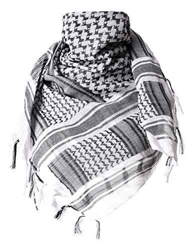 ChinFun 100% Cotton Keffiyeh Tactical Desert Scarf Military Arab Scarf Wrap Shemagh Black & White