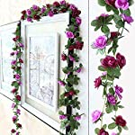 artificial rose garland, 98 inches 45 head fake rose garland, artificial silk white flower vines, hanging floral garland, wedding flowers string party arch garden wall diy decor (c)