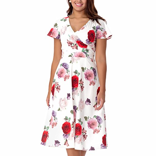 One Sight Women's Floral Printed V-Neck Midi Dress Short Sleeve Cocktail Party A Line Dress