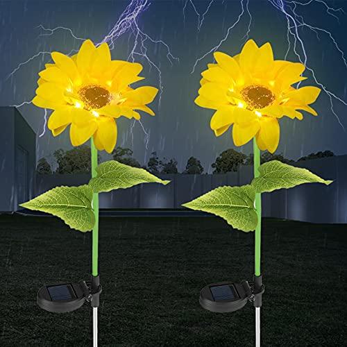 Yideng - Juego de 2 luces solares solares para exteriores, impermeables, con tallos ajustables y hojas para exteriores, iluminación LED de girasol, para pasarela, patio, jardín