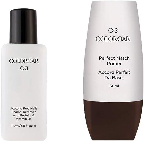 Colorbar New Perfect Match Primer, 30ml And Colorbar Nail Polish Remover, 110ml