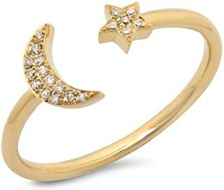 Dainty Crescent Moon & Star Ring with Pave Crystals in Matte Gold or Silver Plated Fasion Simple Casual
