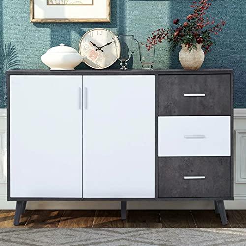 Uni-Fam Kommode Sideboard Schrank Mehrzweckschrank Standschrank,Weiß+Grau