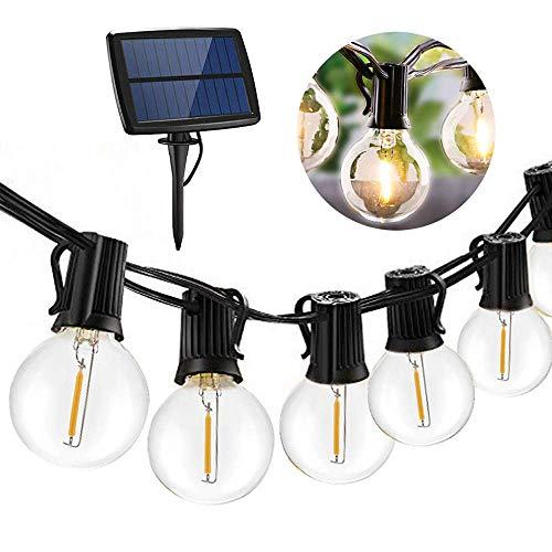 XHCP Solar Powered String Lights Outdoor Waterproof,Hanging Umbrella Lights with 27 LEDs,25 Ft Bulb String Lights with 4 Lighting Modes Patio Lights for Backyard Market Cafe Gazebo Por