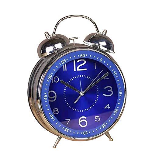 Qchengsan - Reloj despertador de 4 pulgadas con esfera estereoscópica, clásico reloj analógico clásico con retroiluminación, funciona con pilas, diseño simple junto al escritorio, Azul